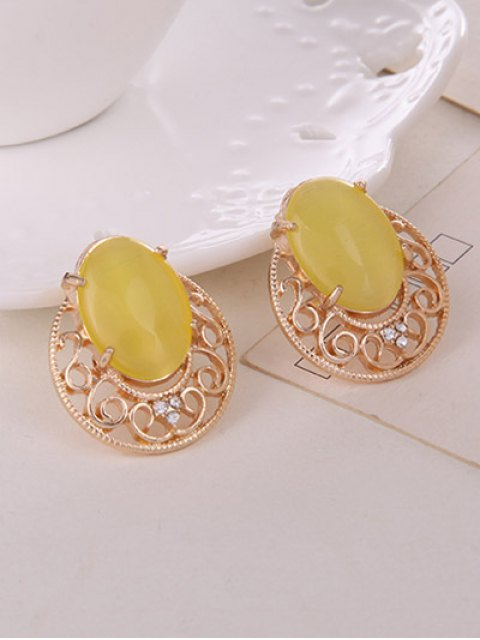 chic Rhinestone Faux Opal Jewelry Set - YELLOW  Mobile