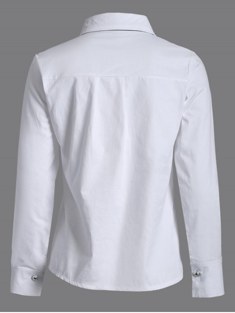 outfit Bowknot Long Sleeve Shirt - WHITE XL Mobile