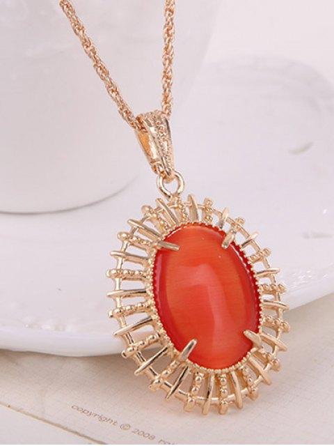 fancy Oval Fake Opal Jewelry Set -   Mobile