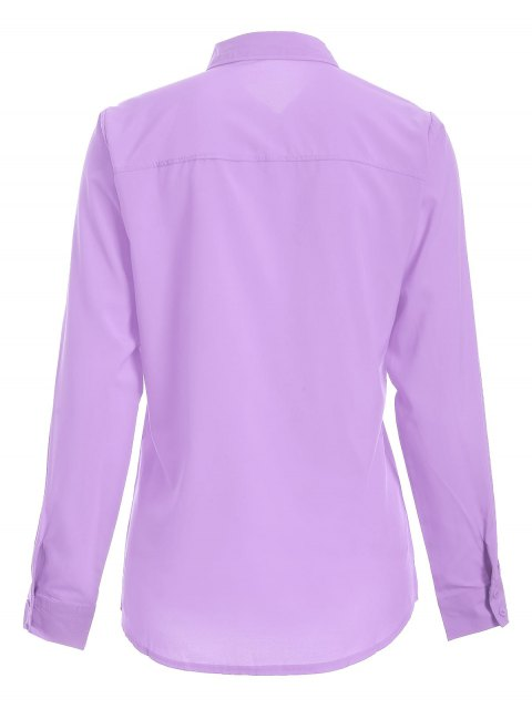 latest Bowknot Long Sleeve Button Up Shirt - LIGHT PURPLE S Mobile