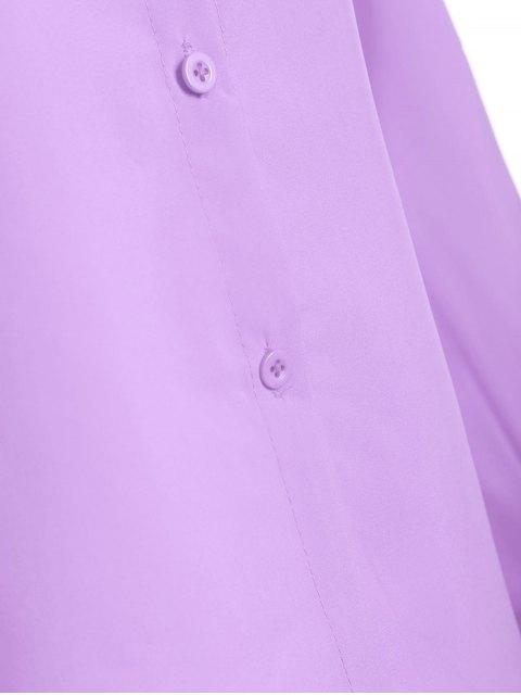 shop Bowknot Long Sleeve Button Up Shirt - LIGHT PURPLE L Mobile