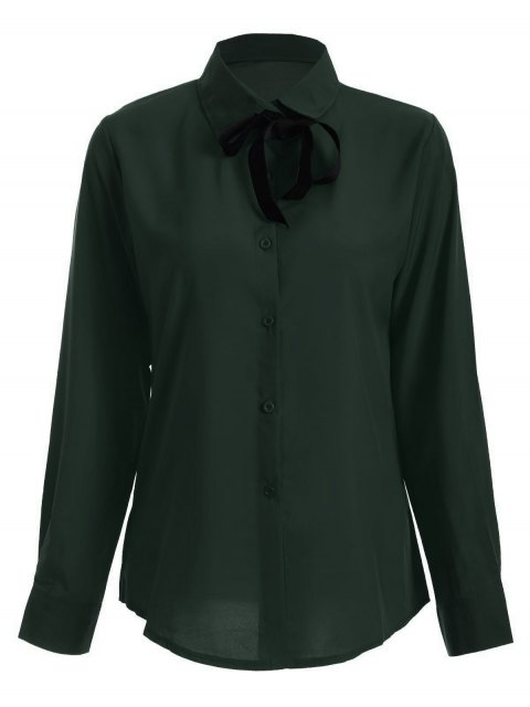 chic Bowknot Long Sleeve Button Up Shirt - BLACKISH GREEN S Mobile