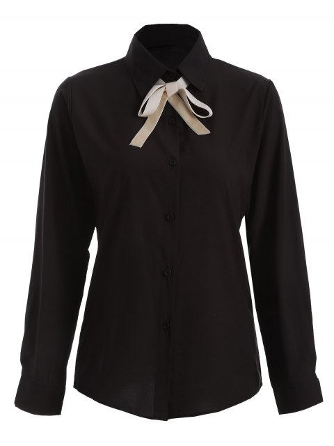 fancy Bowknot Long Sleeve Button Up Shirt - BLACK L Mobile