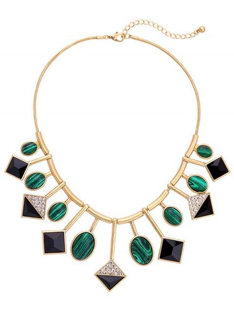 trendy Geometry Fake Gemstone Pendant Necklace -   Mobile