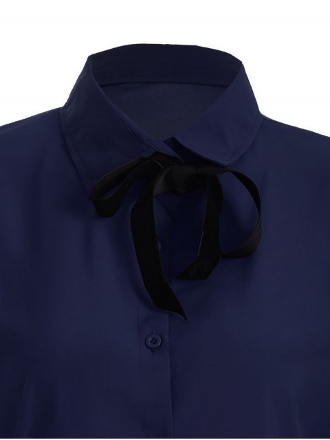 women's Bowknot Long Sleeve Button Up Shirt - DEEP BLUE M Mobile