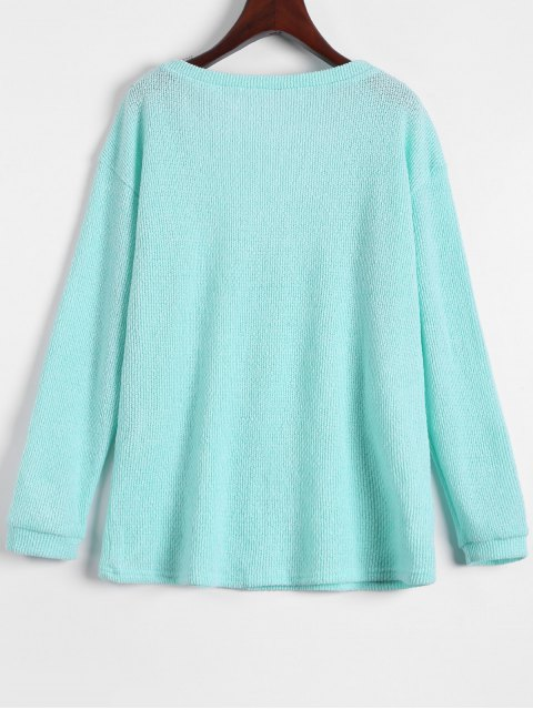new Long Sleeve V Neck Jumper - LIGHT GREEN XL Mobile