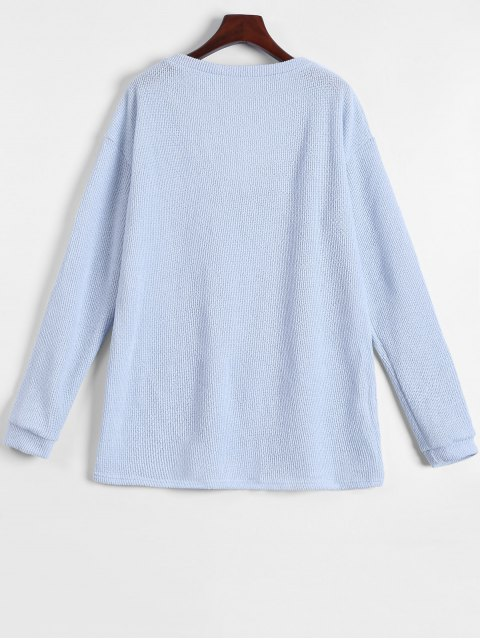 womens Long Sleeve V Neck Jumper - LIGHT BLUE S Mobile