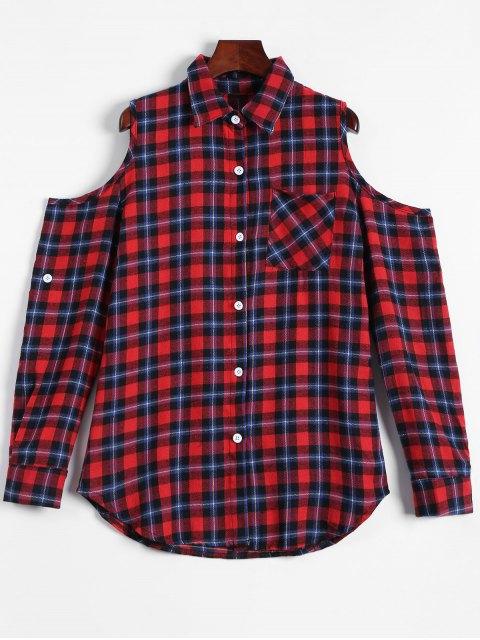 best Plaid Buttoned Cold Shoulder Shirt - MULTICOLOR XL Mobile