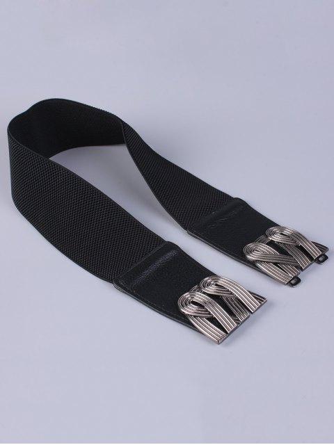 online Faux Leather Stretch Belt - BLACK  Mobile