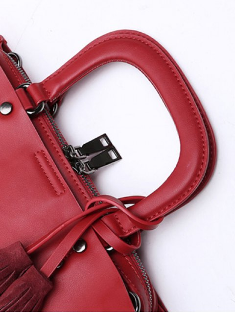 outfit Metal Tassels Magnetic Closure Tote Bag - RED  Mobile