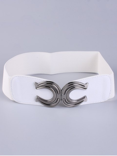 new X Shape Buckle Elastic Belt - WHITE  Mobile