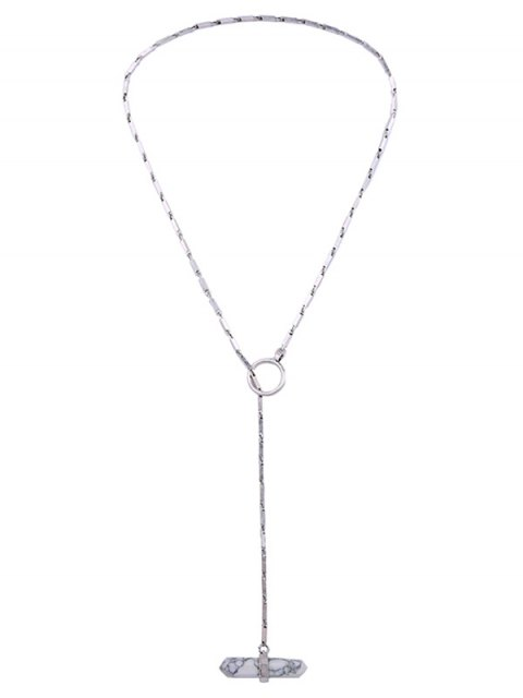 chic Geometry Natural Stone Necklace - SILVER  Mobile