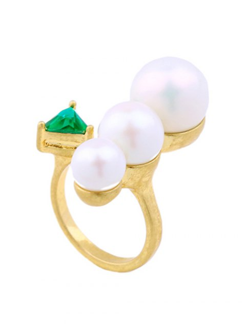 fancy Faux Pearl Geometric Gem Cuff Ring -   Mobile