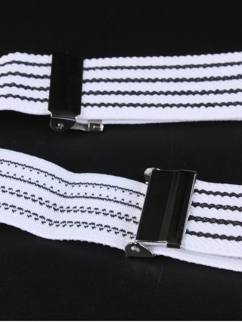 outfits Elastic Striped Adjustable Suspenders - WHITE  Mobile