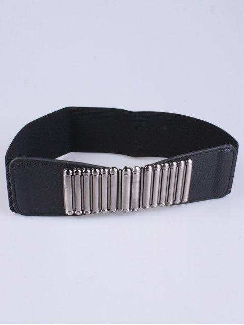 shop Bowknot Decorative Elastic Wide Belt - BLACK  Mobile