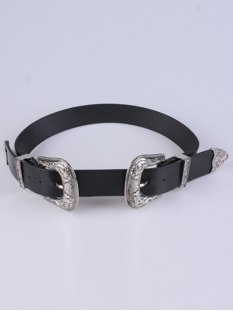 sale PU Double Pin Buckle Belt - SILVER  Mobile