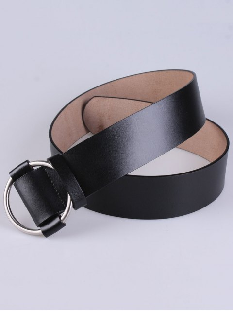 best PU Round Buckle Adjustable Belt - BLACK  Mobile