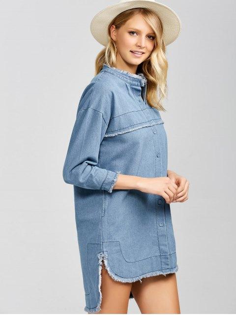 fashion High-Low Denim Dress - LIGHT BLUE L Mobile