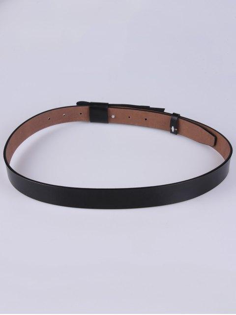 fashion Adjustable Faux Leather Belt - BLACK  Mobile