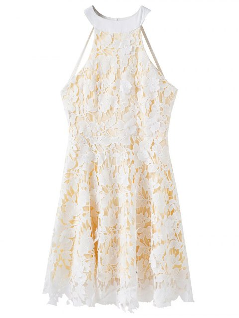 shops Floral Applique Lace Skater Dress - WHITE M Mobile