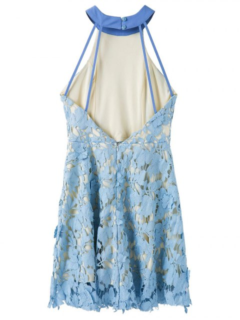 chic Floral Applique Lace Skater Dress - BLUE S Mobile