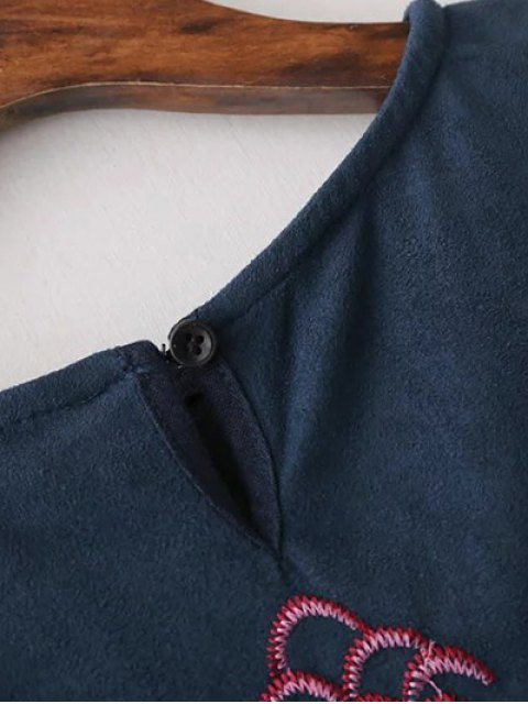 sale Faux Suede Embroidered Blouse - PURPLISH BLUE M Mobile