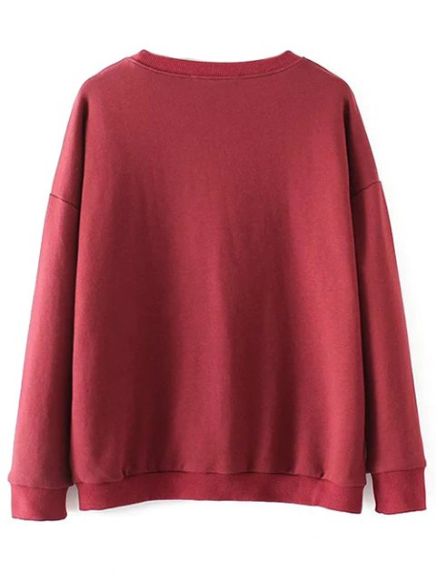 hot Embroidered Fringed Sweatshirt - RED L Mobile