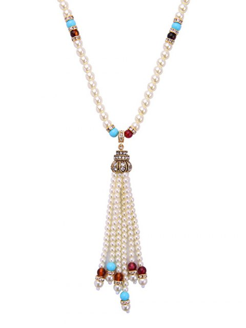 buy Faux Pearl Tassel Crystal Necklace -   Mobile