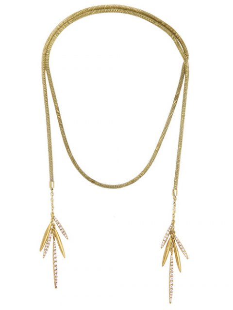 womens Rhinestone Leaf Tassel Snake Chain Necklace - GOLDEN  Mobile
