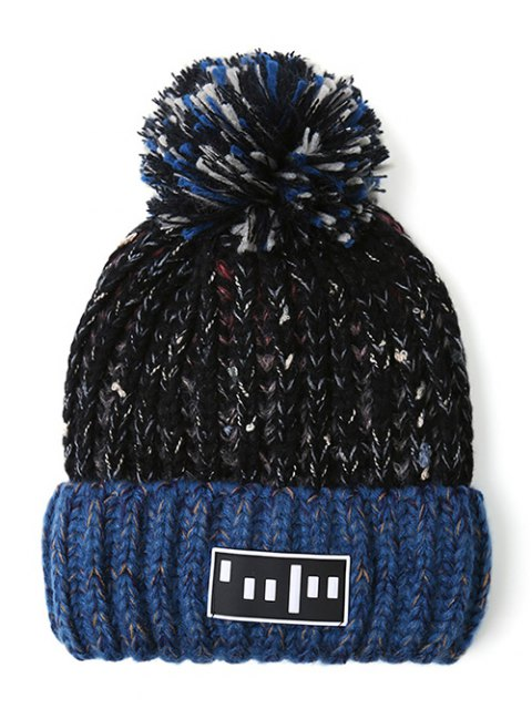 buy Stripy Pom Ball Flanging Knitted Beanie -   Mobile