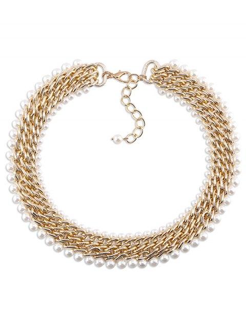 women Alloy Fake Pearl Embellished Necklace - GOLDEN  Mobile