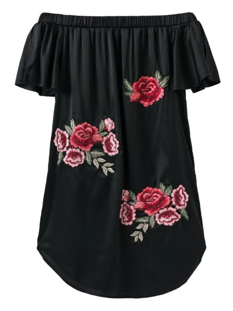 buy Off The Shoulder Floral Mini Dress - BLACK M Mobile
