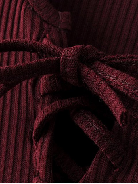 new Lace-Up Knitting Dress - WINE RED S Mobile