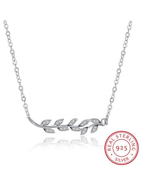 trendy Leaf S925 Diamond Necklace -   Mobile