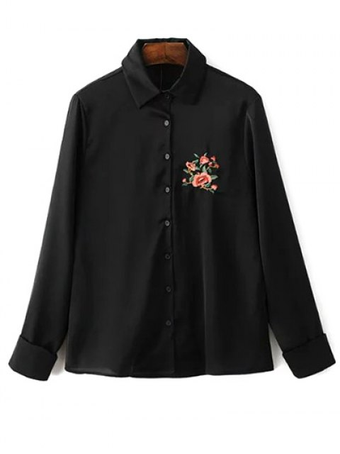 women Slimming Embroidered Shirt - BLACK S Mobile