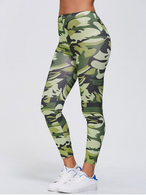 ladies Stretchy Camo Print Sports Leggings - GREEN XL Mobile