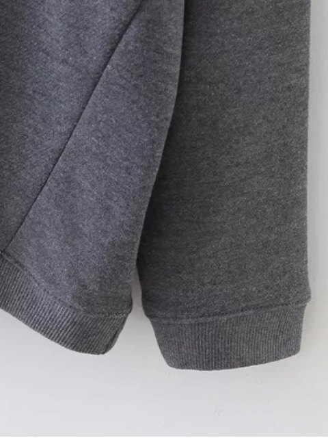 women Striped Sports Sweatshirt - GRAY S Mobile
