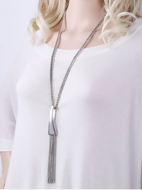 lady Alloy Chain Tassel Pendant Necklace - SILVER  Mobile