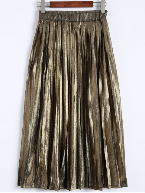affordable Pleated Metal Colour Tea Length Skirt - GOLDEN S Mobile