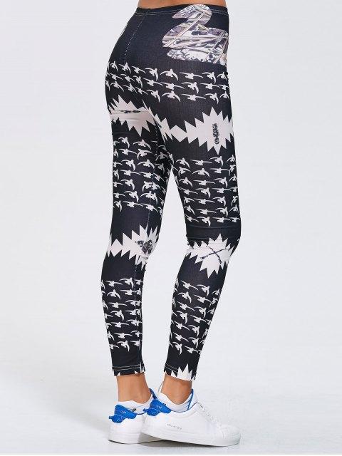 lady Stretchy Printed Sports Leggings - BLACK XL Mobile