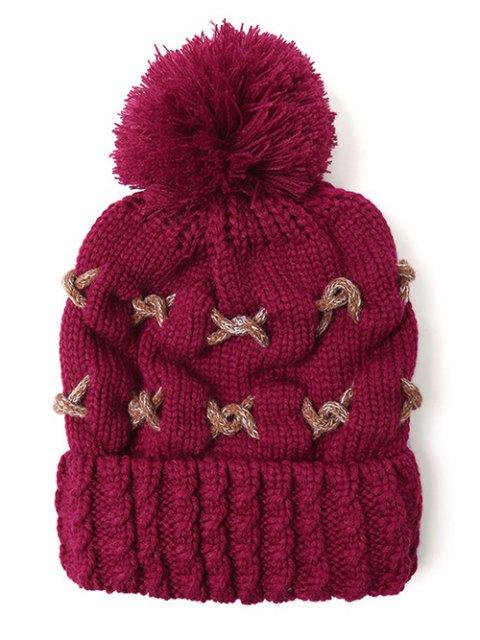 womens Criss Cross Pom Ball Knitted Beanie -   Mobile