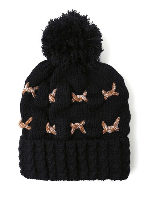lady Criss Cross Pom Ball Knitted Beanie -   Mobile