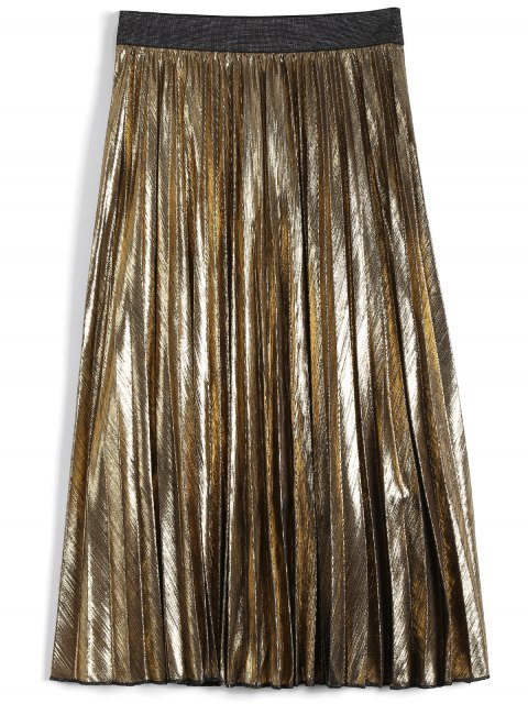 women Metallic Color Pleated Tea Length Skirt - GOLDEN M Mobile