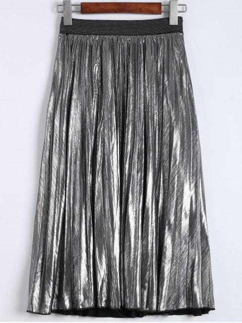 ladies Metallic Color Pleated Tea Length Skirt - SILVER L Mobile