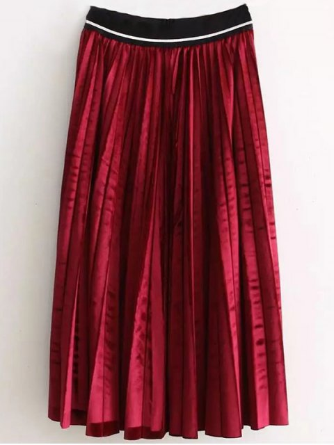 outfit High Waist Pleated Velour Skirt - RED ONE SIZE Mobile
