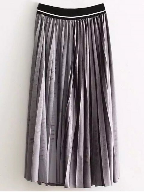 outfits High Waist Pleated Velour Skirt - GRAY ONE SIZE Mobile