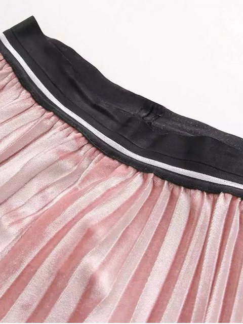shop High Waist Pleated Velour Skirt - PINK ONE SIZE Mobile