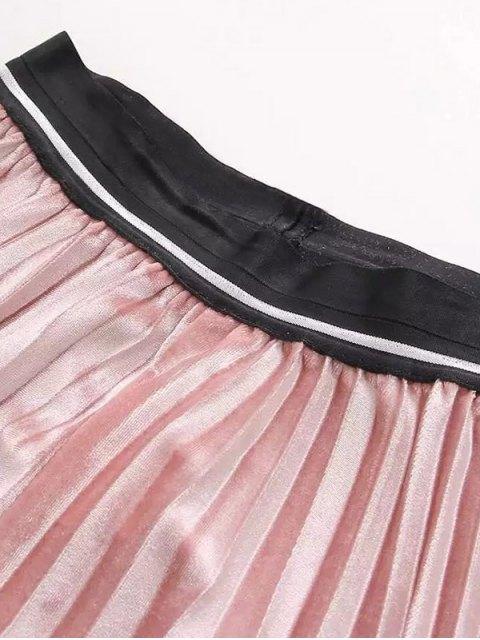 shops High Waist Pleated Velour Skirt - PURPLISH BLUE ONE SIZE Mobile