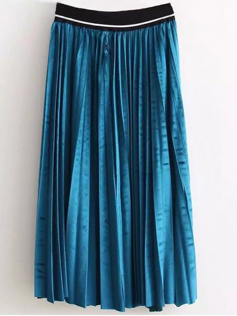 latest High Waist Pleated Velour Skirt - LAKE BLUE ONE SIZE Mobile