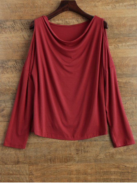 outfit Long Sleeves Cut Out T-Shirt - RED M Mobile